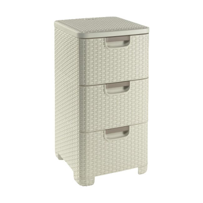 Rattan Style Drawer 3 - Off White - 3