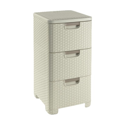 Rattan Style Drawer 3 - Off White