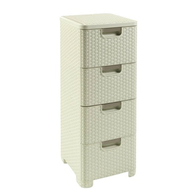 Rattan Style Drawer 4 - Off White - Image 2