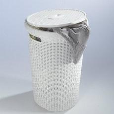Rattan Style Round Hamper - Off White