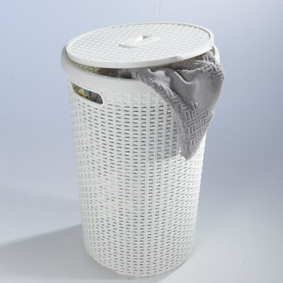 Rattan Style Round Hamper - Off White - Image 2