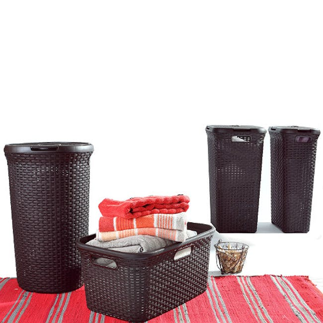 Rattan Style Round Hamper with Lid - Off White - 2