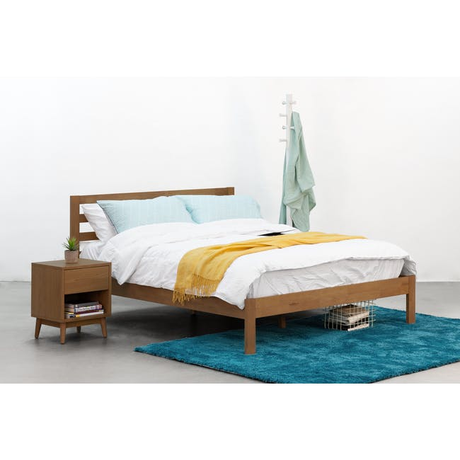 Audrey Queen Storage Bed in Seal Grey with 2 Kyoto Top Drawer Bedside Tables in Walnut - 7