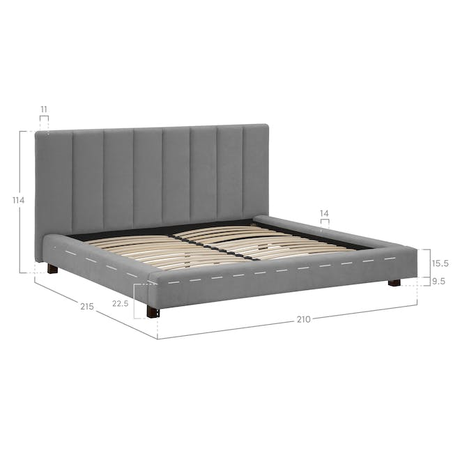 Elliot King Bed in Gray Owl with 2 Lewis Bedside Tables in Black, Ash Brown - 15