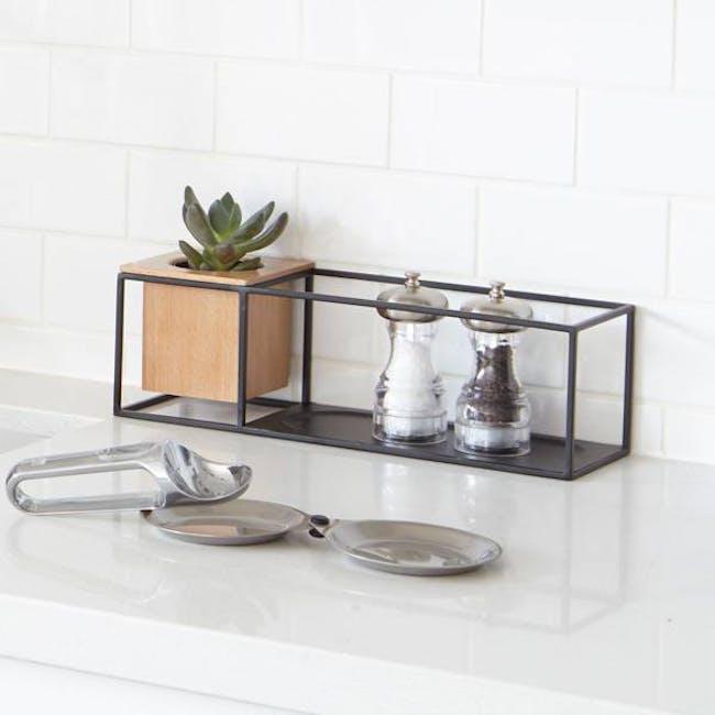 Cubist Small Wall Shelf - Natural, Black - 1