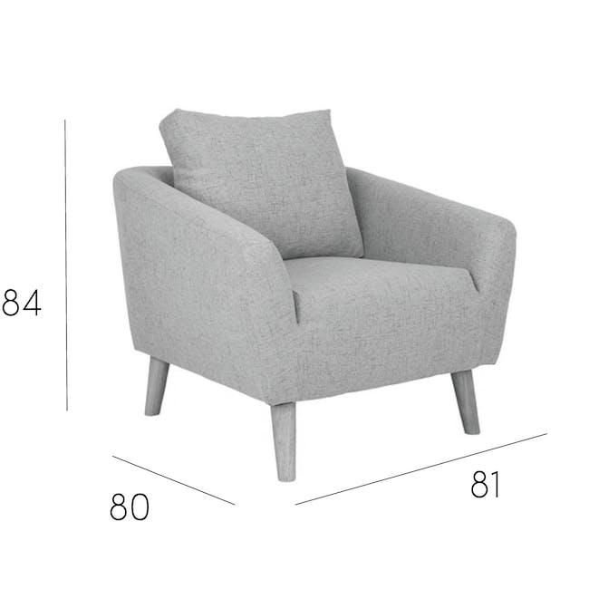Hana 2 Seater Sofa with Hana Armchair - Light Grey - 9
