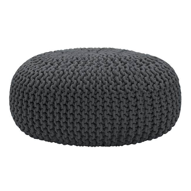 Maui Knitted Pouf - Charcoal Grey - 0
