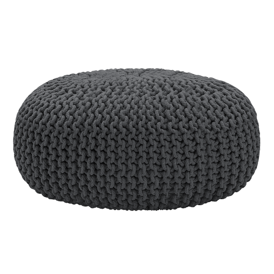 Singla Textiles - Maui Knitted Pouffe - Charcoal Grey