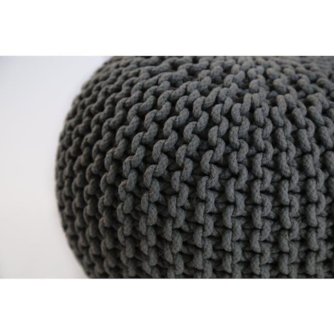 Maui Knitted Pouf - Charcoal Grey - 1