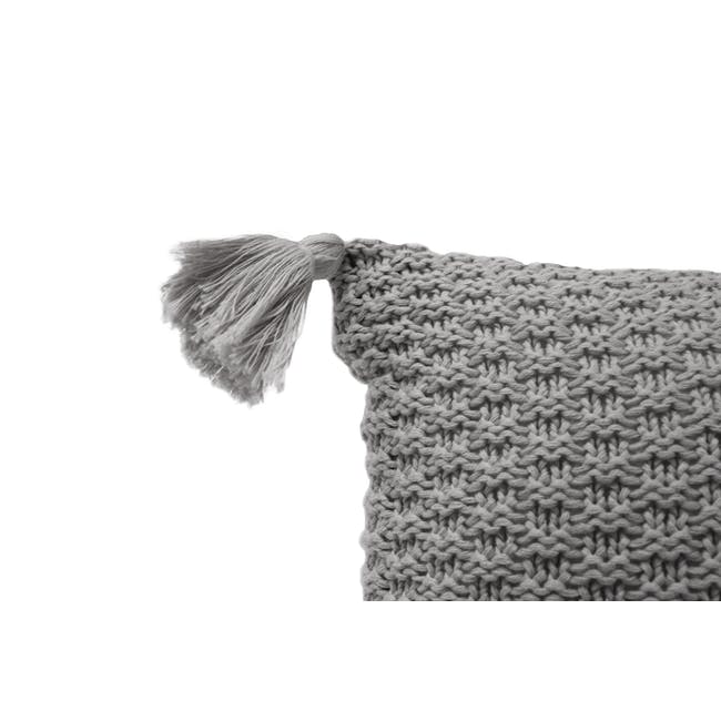 Laura Knitted Cushion Cover - Grey - 2