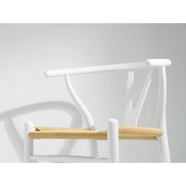 Wishbone Chair Replica - White, Natural Cord - 4