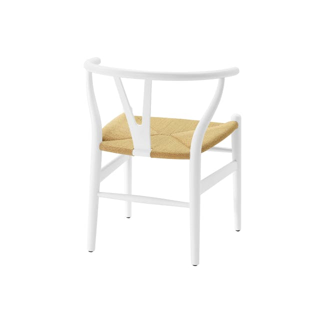 Wishbone Chair Replica - White, Natural Cord - 5