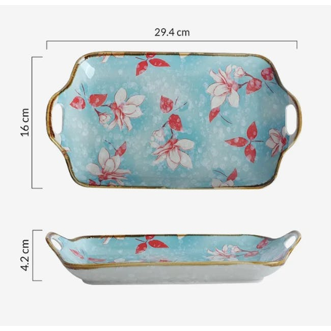 Table Matters Magnolia Rectangular Plate with Handles - 4