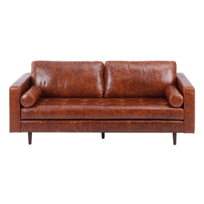 Nolan 3 Seater Sofa - Cigar (Premium Leather) - Image 1