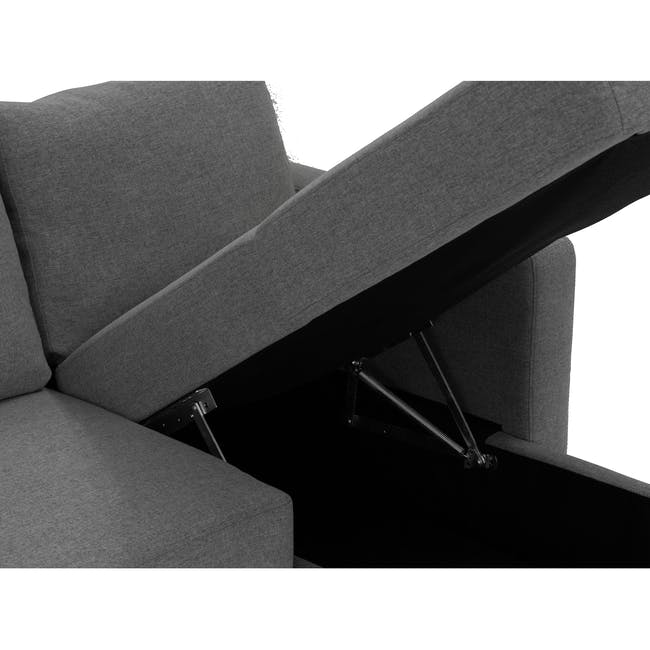 Mia L-Shaped Storage Sofa Bed -  Graphite - 9