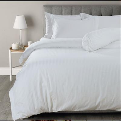 (Queen) Hotelier Prestigio™ 6-pc Bedding Set - White Sateen Stripe - Image 2