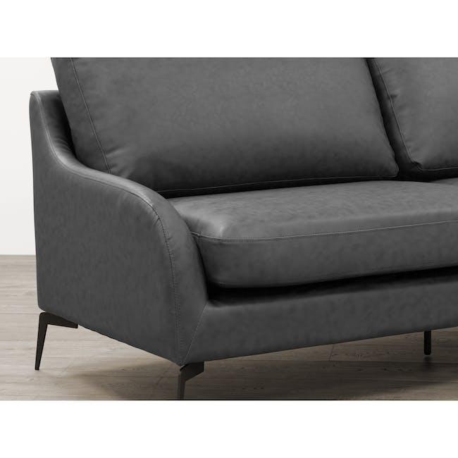 Wellington 3 Seater Sofa - Lead Grey (Faux Leather) - 5