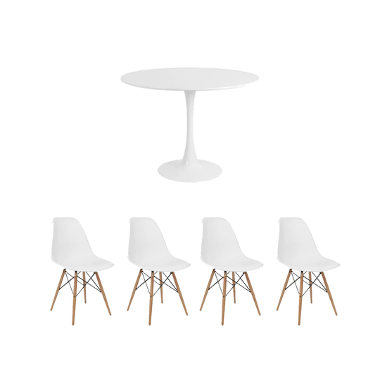 HipVan Bundles - Carmen Round Dining Table 1m with 4 DSW Chair - White