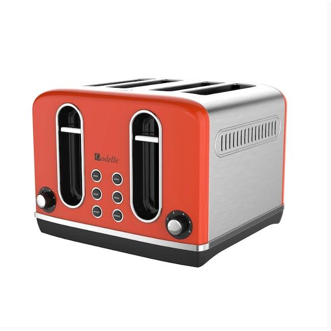 Odette Streamline 4-Slice Bread Toaster - Orange - 2
