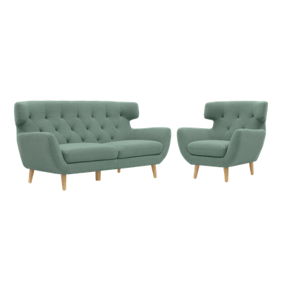 Agatha 3 Seater Sofa with Agatha Armchair - Jade - Image 1