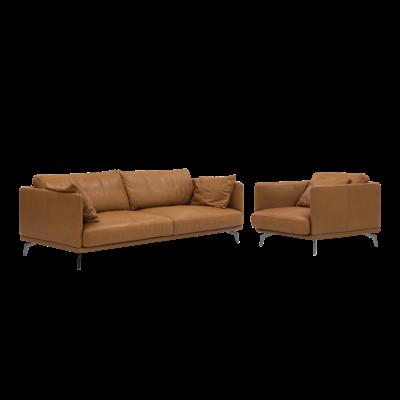 Como 3 Seater Sofa with Como 1.5 Seater Sofa - Tan (Premium Cowhide) - Image 1