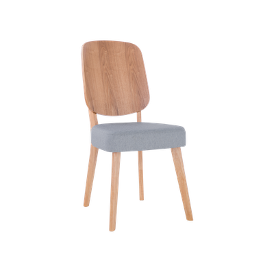 Theodore Dining Chair - Oak, Light Grey - Image 1