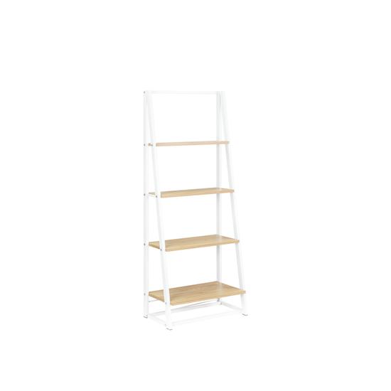 Glass and Metal - Luca Medium Shelf- White, Oak