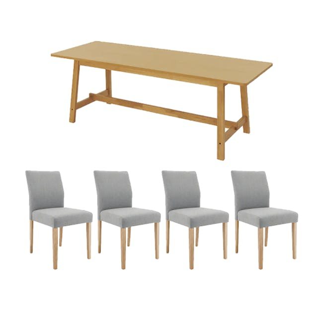Haynes Table 2.2m in Oak with 4 Ladee Dining Chairs in Natural, Pale Grey - 0
