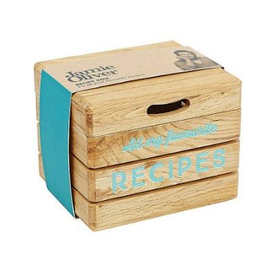 Acacia Recipe Box with Lid