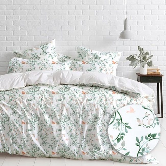 Canningvale Sleep Easy Botanica Quilt Cover Set - Sea Mist (2 Sizes) - 0