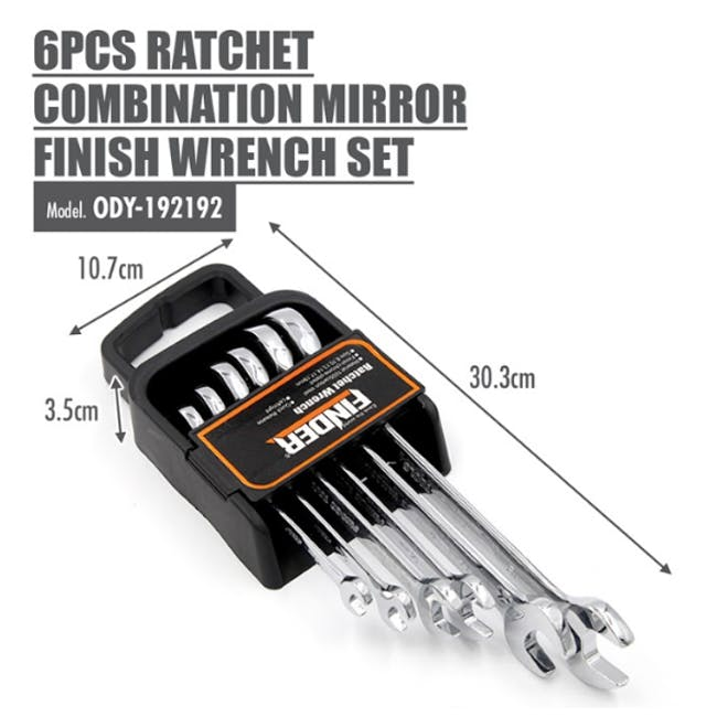 FINDER 6pcs Ratchet Combination Mirror Finish Wrench Set - 3