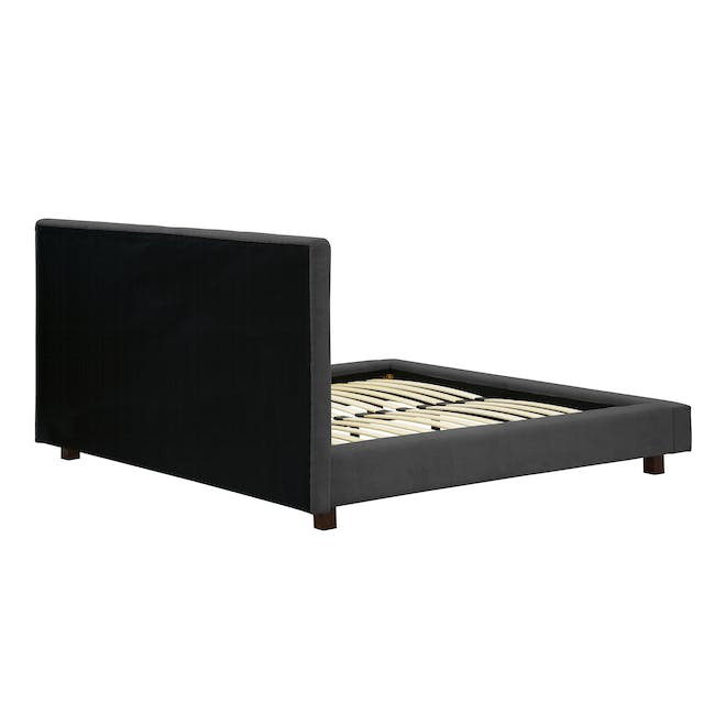 Elliot Queen Bed in Onyx Grey with 2 Nixon Bedside Tables in Gold, Walnut - 7