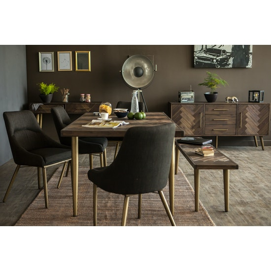 Cadencia Dining Table 2m With Bench 17m And 2 Anneli Arm Chairs