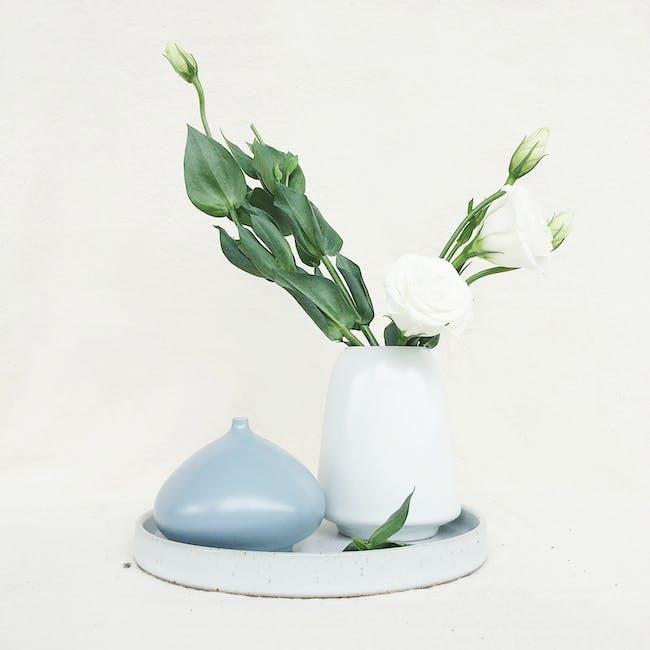 Nordic Matte Vase Cylinder with Wide Rim - White - 1