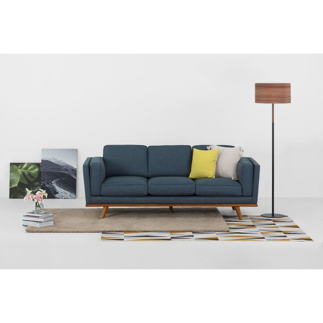 Carter 3 Seater Sofa in Space Blue with Daewood in Dark Grey - 2