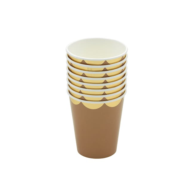 Scalloped Gold Kraft Paper Cup - Set of 8 - 0