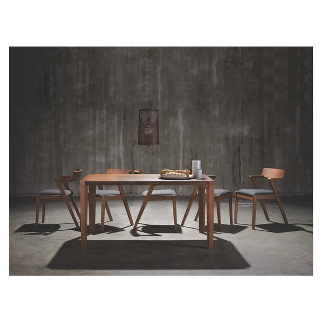 Odette Dining Table 1.6m with 4 Imogen Dining Chair in Dolphin Grey and Spring Green - 14