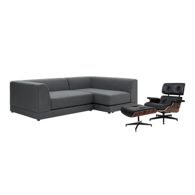 Abby L Shape Sofa with Eames Lounge Chair and Ottoman - Image 1