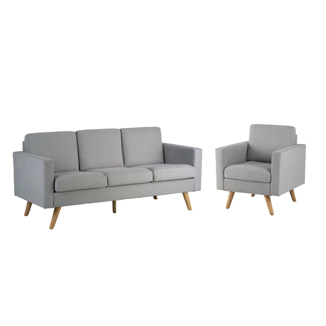 Helen 3 Seater Sofa with Helen Armchair - Silver Fox - 0