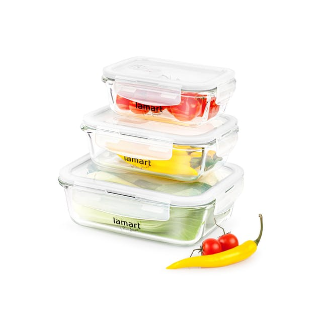 Lamart Glass Air Tight Containers with Clip Lock - Set of 3 - 1