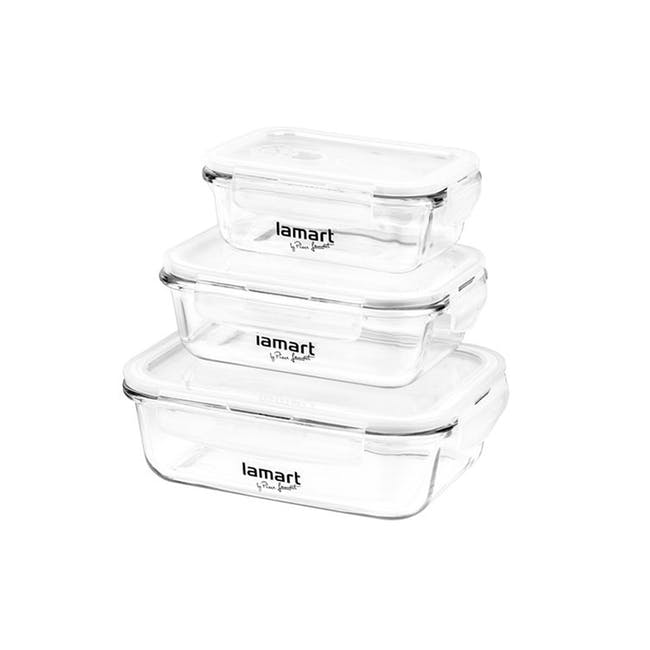 Lamart Glass Air Tight Containers with Clip Lock - Set of 3 - 0