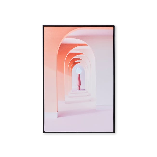 Minimalist Architecture Art Print on Stretched Canvas with Black Frame 60cm x 90cm - Pink Arch Interior - 0