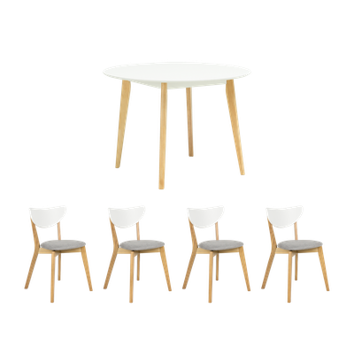 Harold Round Dining Table 1m with 4 Harold Dining Chairs - Image 1
