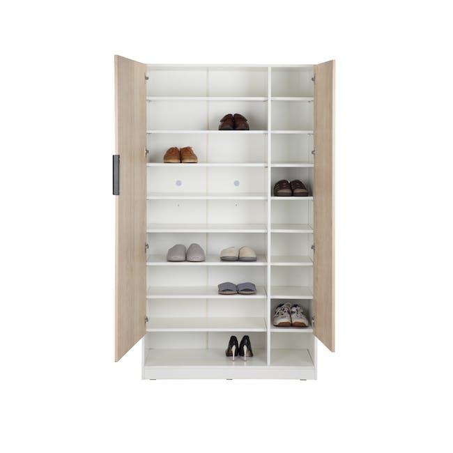 Miga Tall Shoe Cabinet - White, Natural - 3