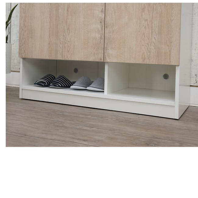 Miga Tall Shoe Cabinet - White, Natural - 6