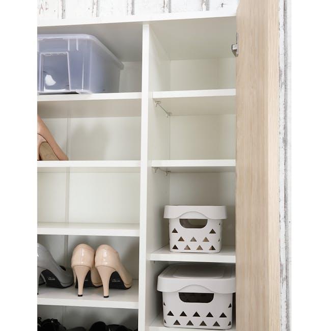 Miga Tall Shoe Cabinet - White, Natural - 4