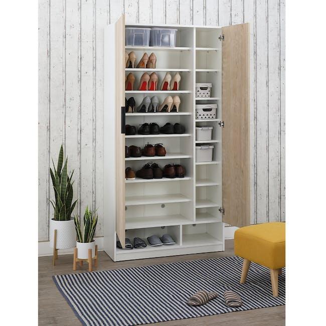 Miga Tall Shoe Cabinet - White, Natural - 1