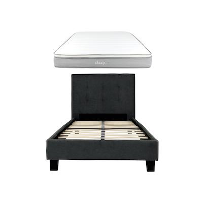Onyx Single Headboard Bed w/ SLEEP Mattress - Dark Grey - Image 1