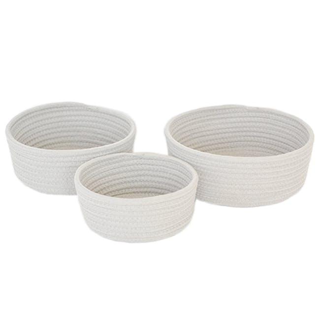 Celine Cotton Rope Storage - White (Set of 3) - 0