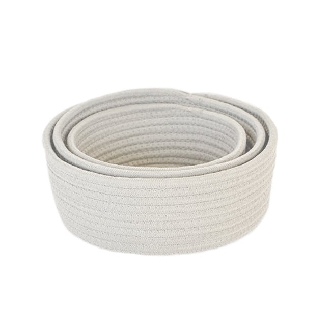 Celine Cotton Rope Storage - White (Set of 3) - 1